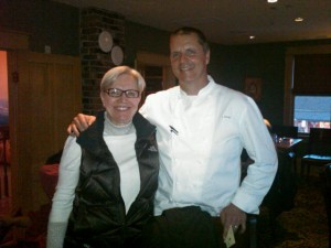 Karin with Chef James Dumas 300x225 Its a Scone, its a Biscuit, its a Parmesan Bite!