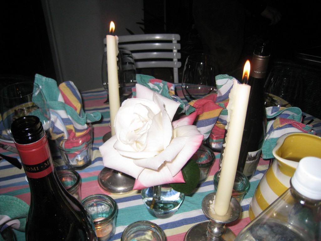 Ambiance: Candles and a rose from the rose garden