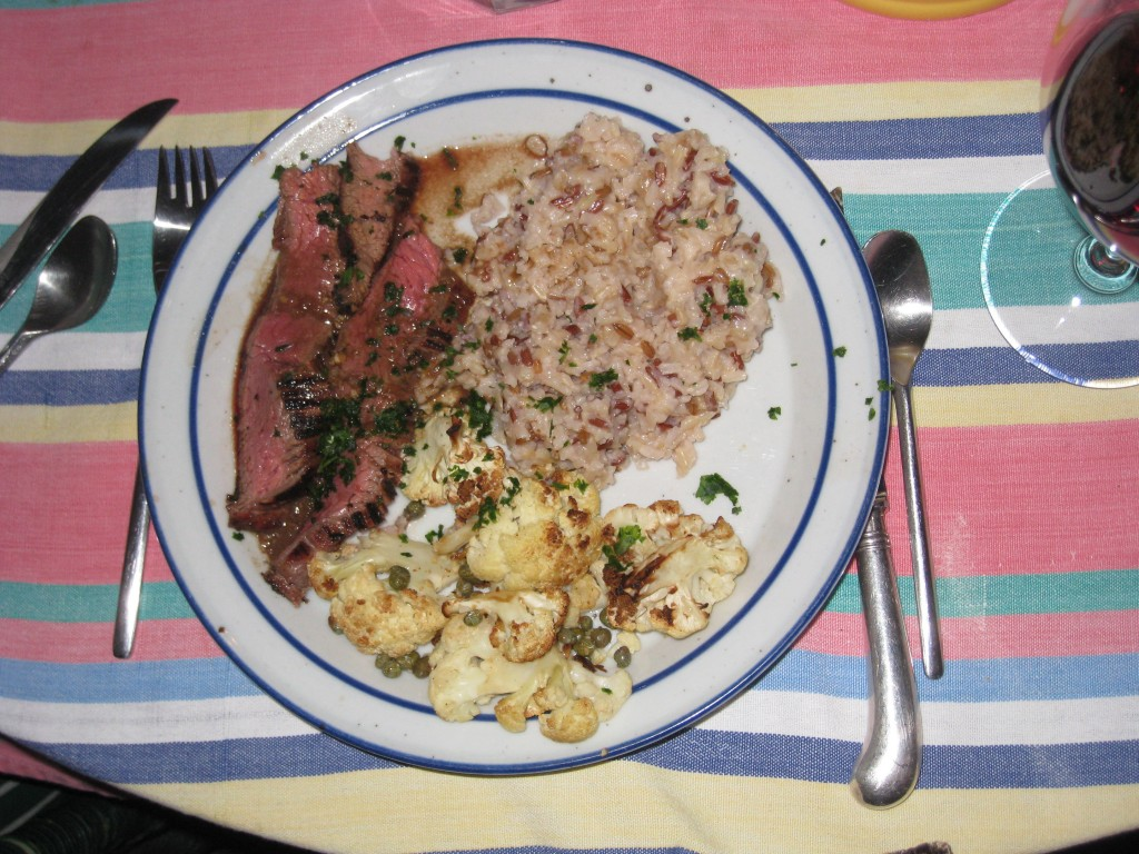 Grilled Flank Steak with cauliflower and brown rice