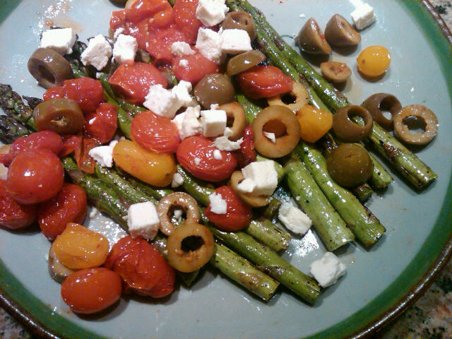 Asparagus with roasted tomatoes olives and feta Minimal Fuss:  Asparagus