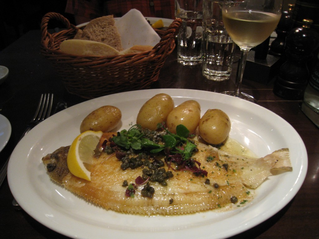 Lemon sole, capers, new potatoes