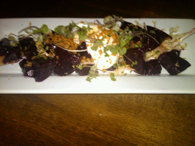 Cinnamon Beets + nut crunch, yogurt, truffled honey, greens