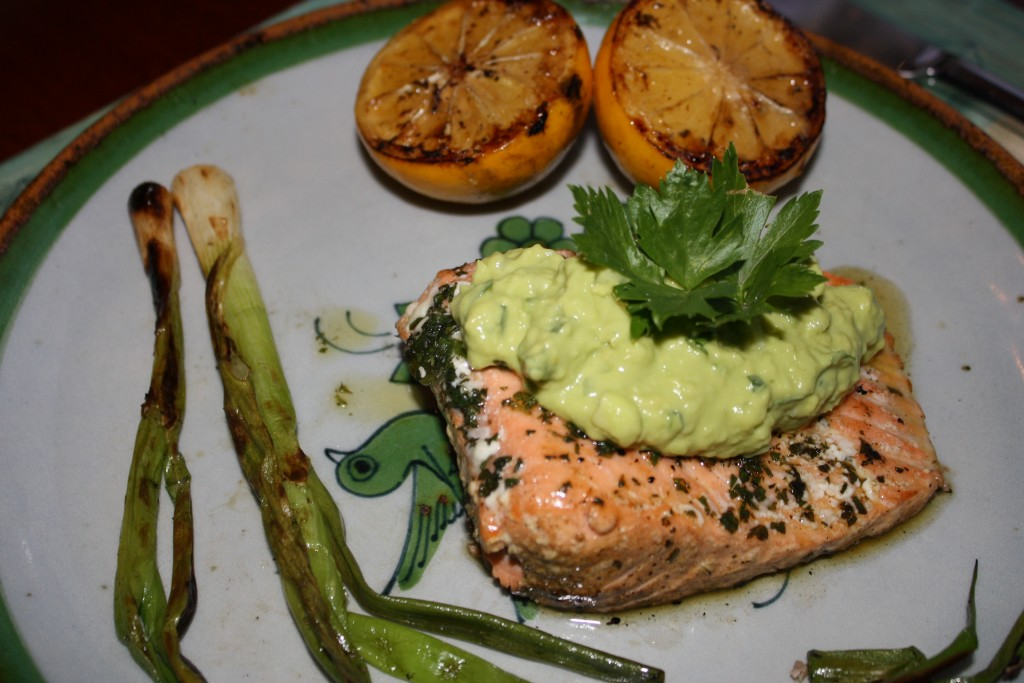 Grilled Salmon with Avocado Tzatziki, grilled lemons and green onions