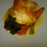 Pan Seared Sea Bass, Fingerling Potatoes, Lychee-Curry Sauce