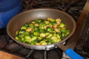 Pan Roasted Brussels Sprouts 300x200 Secrets of the CIA:  Team Cooking by AIWF Members from Across the Country