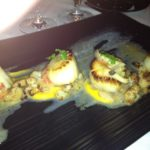 Seared Sea Scallops with Butternut Squash Purée, Shimeji Mushrooms, Apples, Caramelized Cauliflower and Tarragon