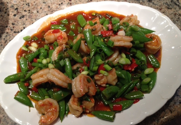 A Summer Cooking Alternative to Grilling:  Stir Fry – Szechwan Shrimp with Sugar Snap Peas
