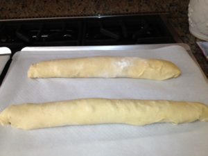 Roll like jelly roll and let rise 1 hour on prepared cookie sheet or parchment paper